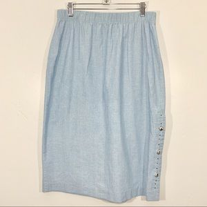 Vintage | Light Blue Silver Button Side Midi Skirt